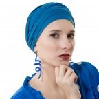 Turban à nouer Diana Bleu Océan en Fibe de Bambou par MM Paris Créateur de Turbans