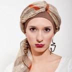 Turban Femme SHEILA Marron/Beige facile à Nouer MM Paris Créateur de Turbans