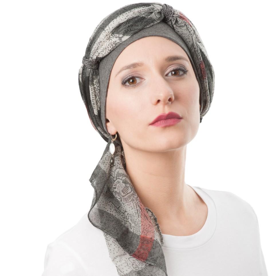 1c957afc70e50 Turban Femme SHEILA Gris Bleu facile à Nouer MM Paris Créateur de Turbans
