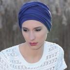 Turban à nouer Diana Bleu Marine en Fibe de Bambou par MM Paris Créateur de Turbans