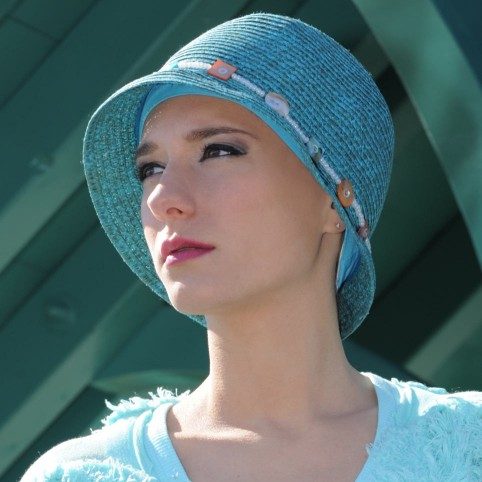 Chapeau Femme d'été en paille tressée couleur turquoise modèle Jamaïque
