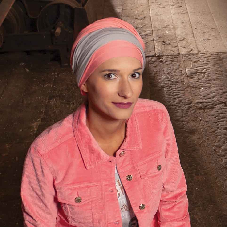 Ready to Tie Turban Leslie Bamboo Fiber Coral/Pearl by MM Paris