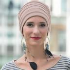 Turban doublé pour l'hiver couleur sable, bonnet femme LOLA en Fibre de bambou MM Paris