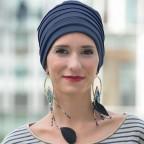 Turban d'hiver doublé bleu nuit pour femme, bonnet LOLA en Fibre de bambou MM Paris
