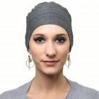 Turban femme pour l'hiver doublé gris chiné foncé, bonnet LOLA en Fibre de bambou MM Paris