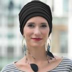 Turban d'hiver doublé noir en fibre de bambou pour femme, LOLA MM Paris