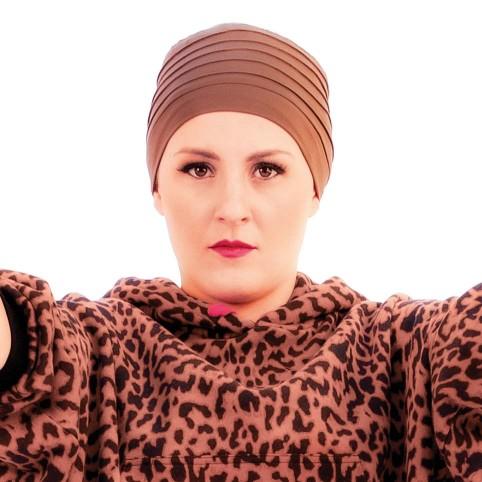 Turban simple pour femme, modèle Lola Bleu Canard en Fibre de bambou, de MM Paris Créateur de Turbans.