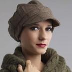 Casquette Femme Gavroche Couleur Kaki en flanelle Modèle CYRIL MM PARIS