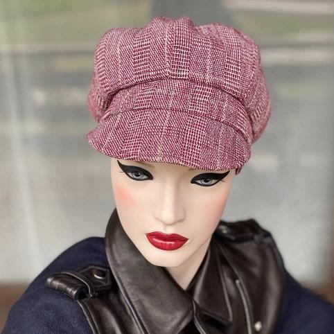 Casquette Femme Gavroche couleur bordeaux en flanelle Modèle CYRIL MM PARIS