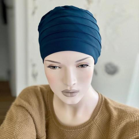 Turban basic d'hiver doublé bleu canard pour femme, LOLA en Fibre de bambou MM Paris