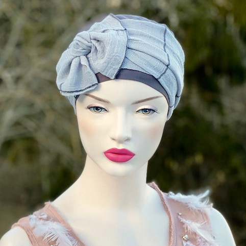 Bandeau de tête gris en tissu modèle femme Célia Gris MM PARIS