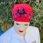 Bandeau de tête marine et rouge pour l'été modèle Twist MM PARIS