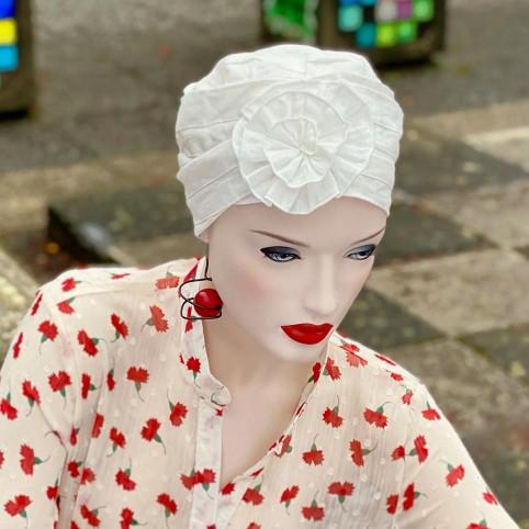 Turban Femme modèle LOTUS en lin Intérieur fibre de bambou