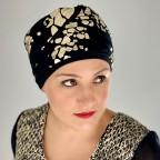 Turban Femme noir et or d'été en fibre de bambou modèle Lumière