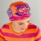 Turban Femme orange et rose à motifs végétal, très frais en fibre de bambou, modèle Agrume MM Paris