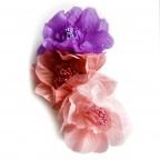 Bijoux de Turban Grosses Fleurs Rose / Violet MM PARIS