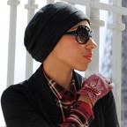 Winter Hat Black in Fleece with Bambo Fiber Inside by MM Paris.