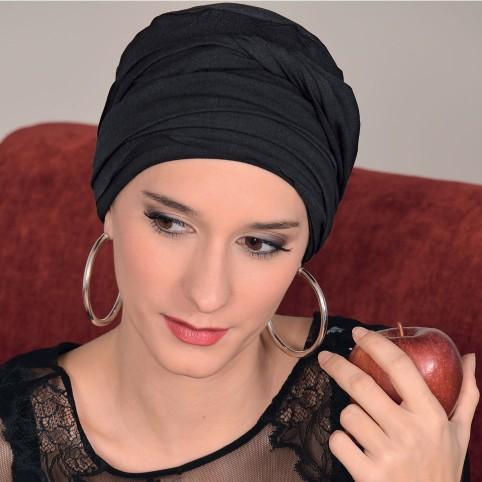 Turban à nouer Diana Noir en Fibe de Bambou par MM Paris Créateur de Turbans